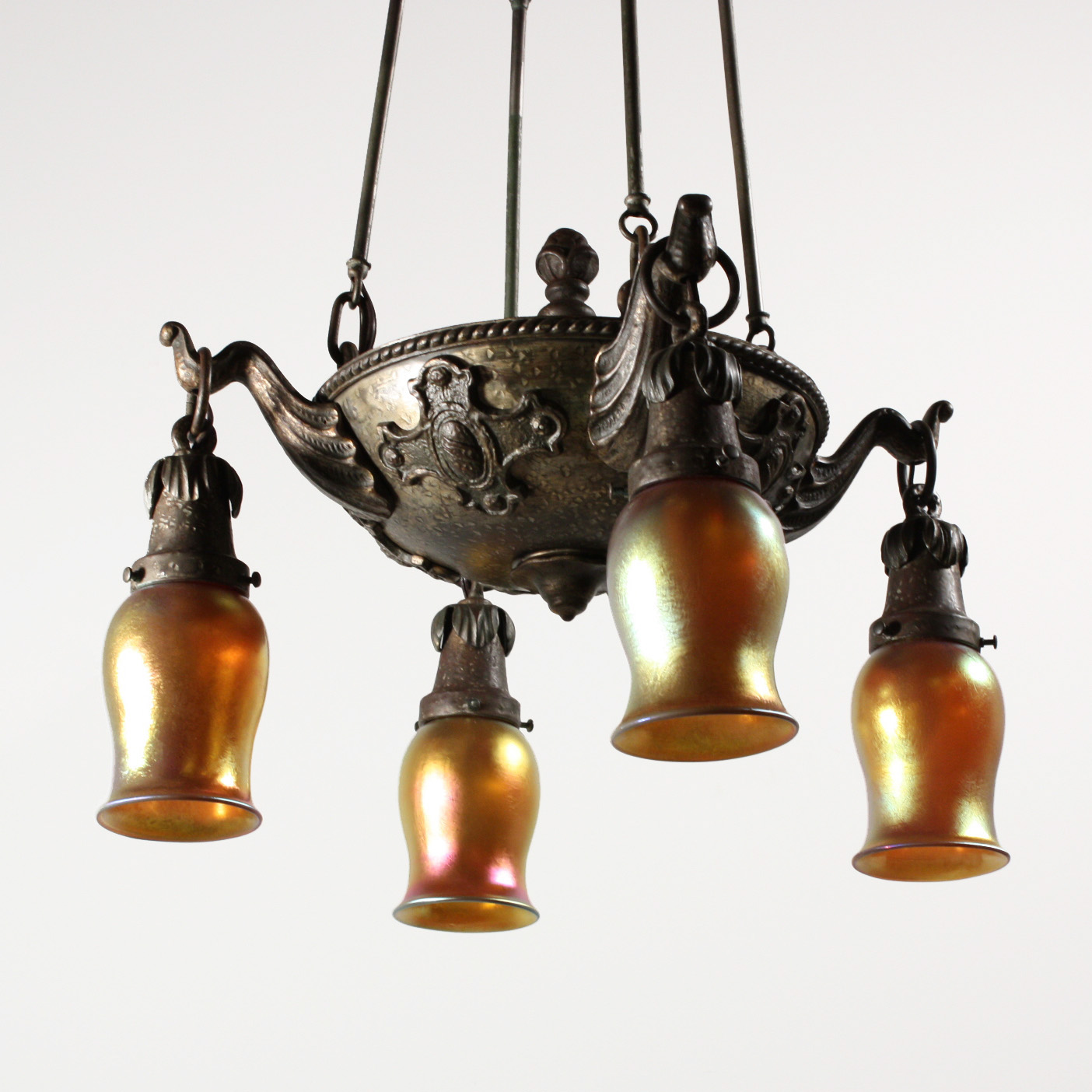 Unusual antique arts and crafts four light chandelier art for Arts and crafts chandelier