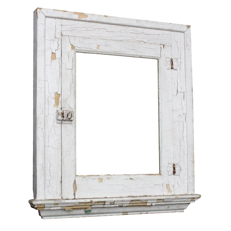 Salvaged Antique Bathroom Medicine Cabinet With Mirror Crackled Paint Nmc9 For Sale Antiques
