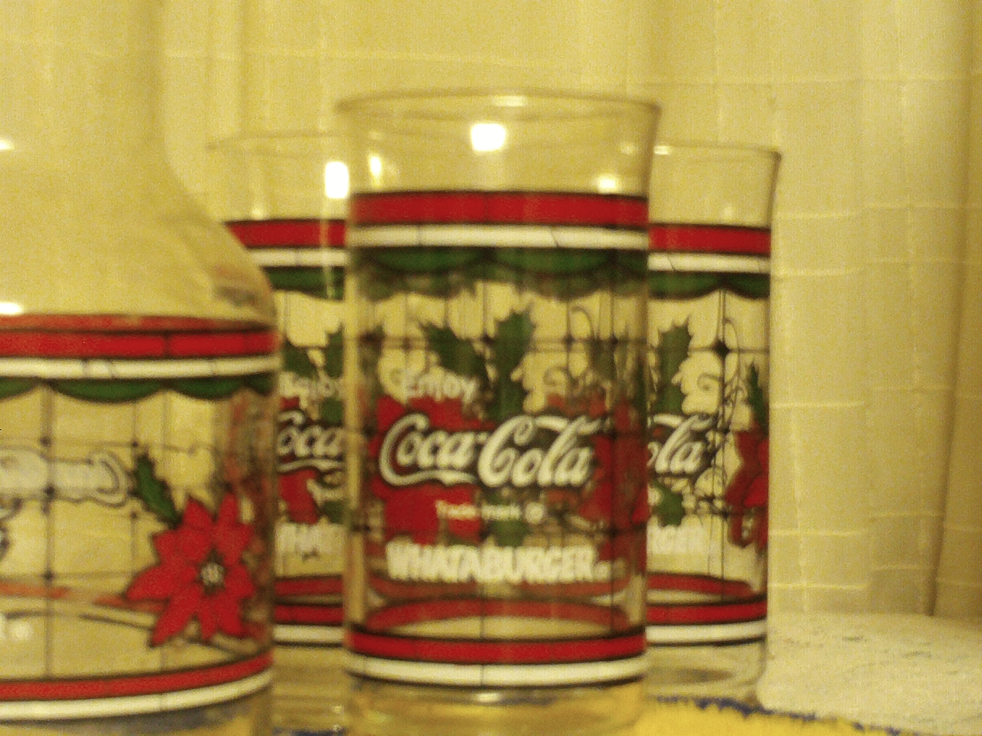 6 what a burger and cocacola christmas glasses and decanter with lid all in excellent shapeno chips or crackspaint in excellent condition buyer pays sh - Is Whataburger Open On Christmas