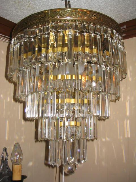 Rare 5 Tier Crystal Brass Flush Mount Wedding Cake