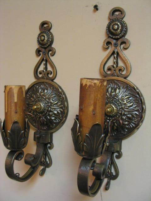 Vintage Antique Wall Sconces : Vintage Pair Brass Wall Sconces For Sale Antiques.com Classifieds