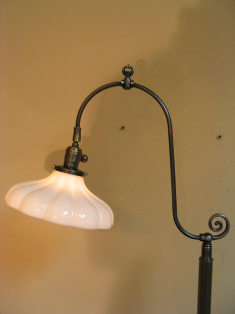 Vintage Bridge Arm Floor Lamp w/ Glass Shade For Sale | Antiques ...