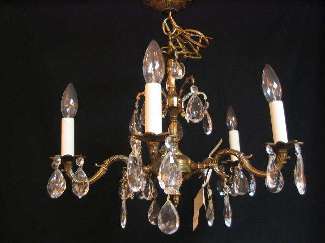 Chandelier 5 Lite Crystal Brass 1950 S For Sale
