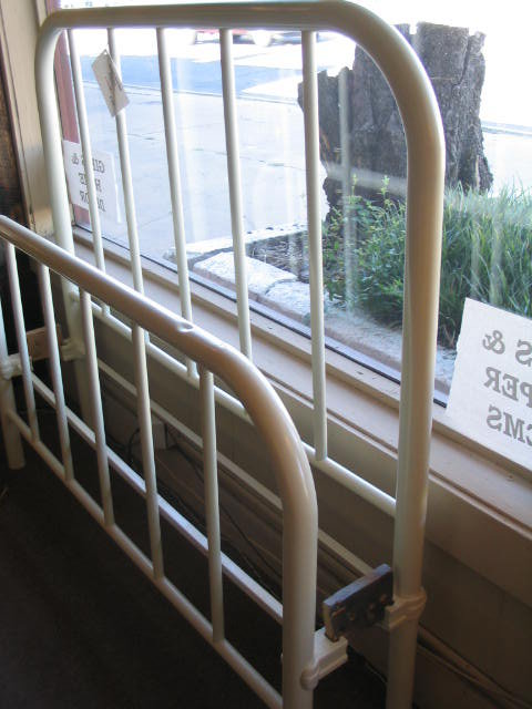 Iron Bed Full Part - 42: Nice Simple Style In This Early 1900u0027u0027s Cast Iron Bed. Its Been Sandblasted  And Painted A Satin Off White. Nice And Heavy With Original Rails.