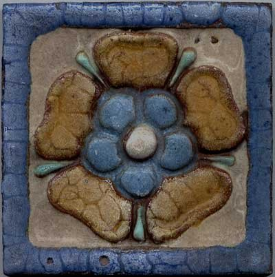 Grueby arts and crafts tile with tudor rose for sale for Arts and crafts for sale
