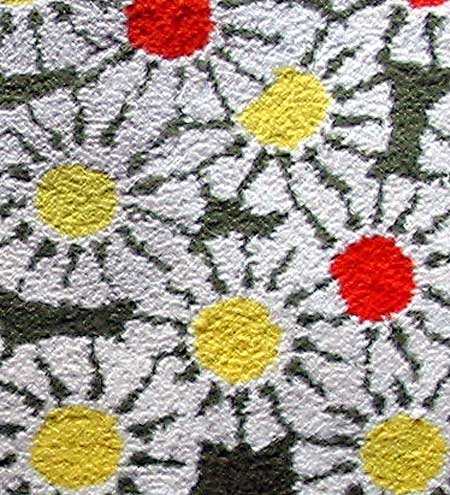Vintage Mid Century Modern Flower Power Hooked Rug For Sale