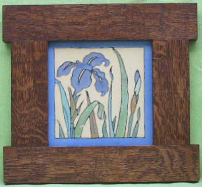 American arts and crafts iris tile by flint faience in a for Arts and crafts floor tile