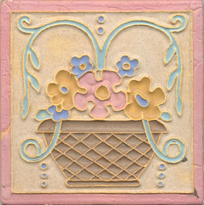 Arts And Crafts Flower Basket Tile For Sale Antiques Com Classifieds