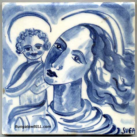 Blue And White Madonna And Jesus Tile For Sale Antiquescom - Blue and white tiles for sale