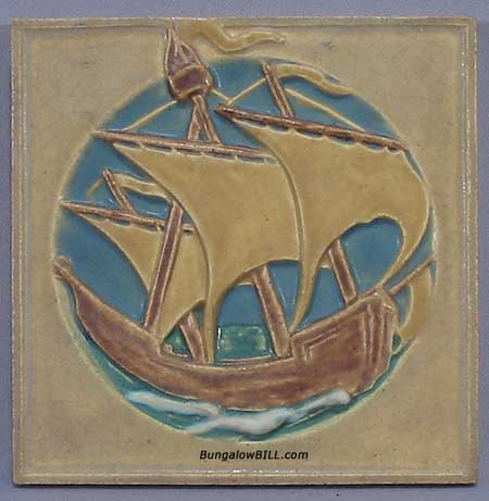 Arts and crafts ship tile by rookwood for sale antiques for Arts and crafts floor tile