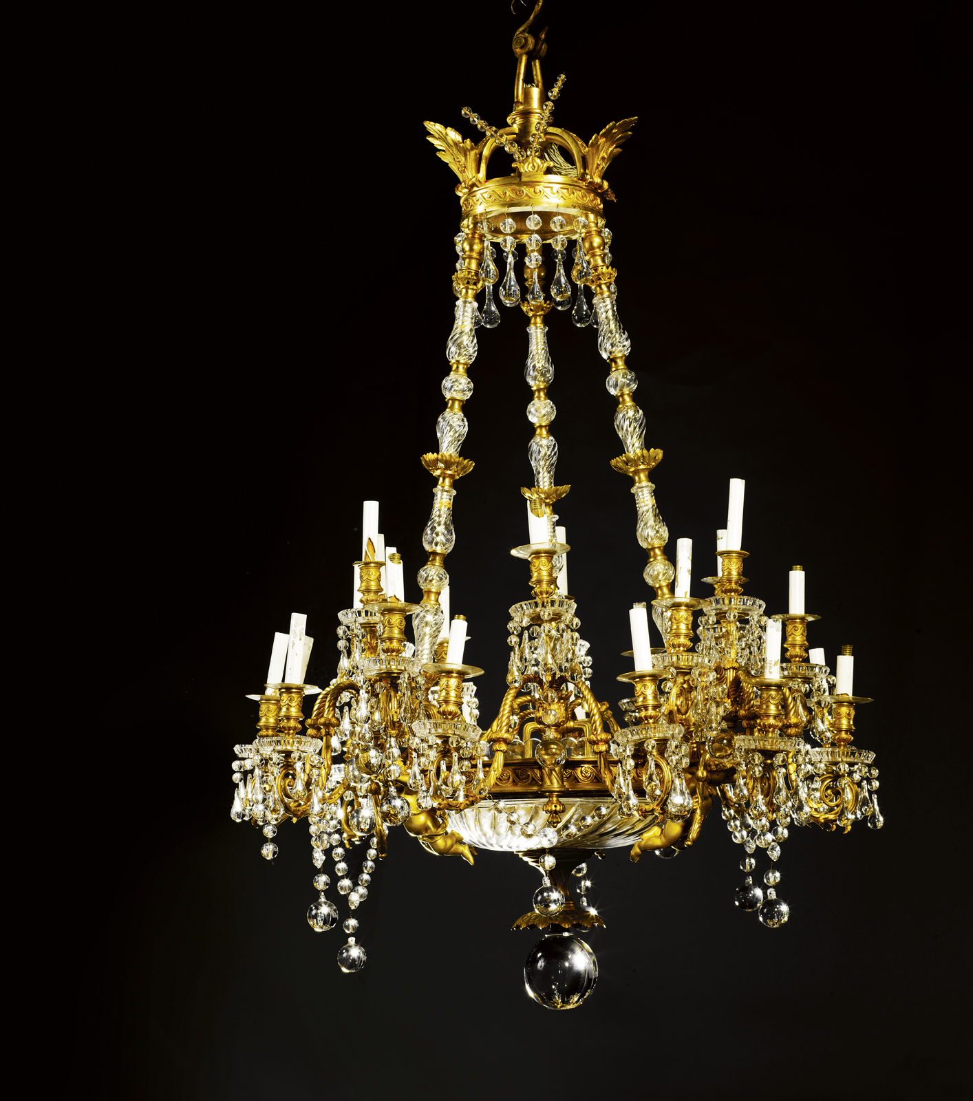 Maison baccarat chandelier for sale antiques classifieds maison baccarat a large two tone burnished gilt bronze and crystal twenty seven light chandelier second half 19th century hung from a coronet with three aloadofball Images