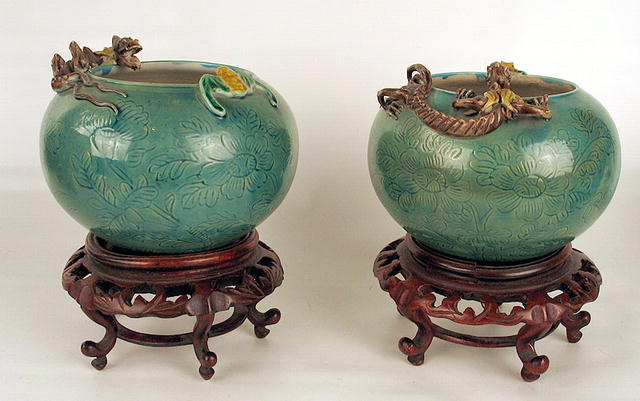 Chinese Qing Republic Pair Vases Applied Dragon Stand For Sale