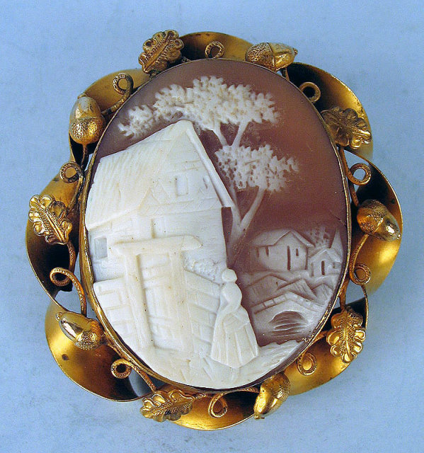 Interesting Village Scene Antique Cameo Woman In Town