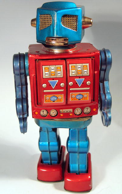 Japanese Tin Toy Robots : Japanese space tin robot w guns battery operated for sale