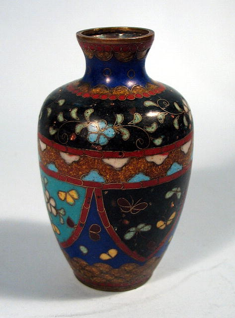 Old Japanese Goldstone Cloisonne Vase Butterfly Rose In A Very Nice Pattern About 4 Tall And Mini Example No Damage Or Repairs