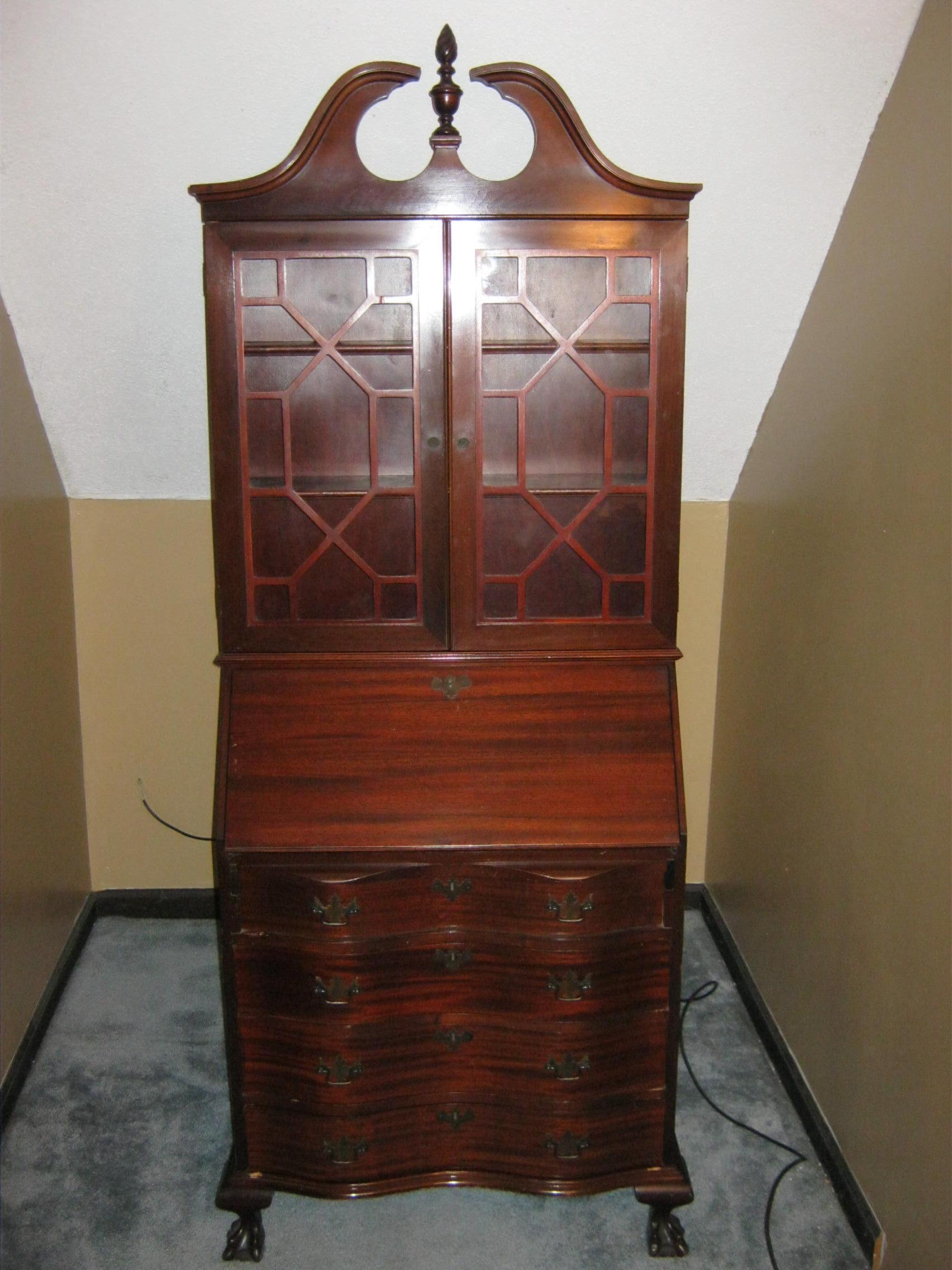 Antique Secretary Cabinet with Drop Down Desk For Sale | Antiques.com | Classifieds