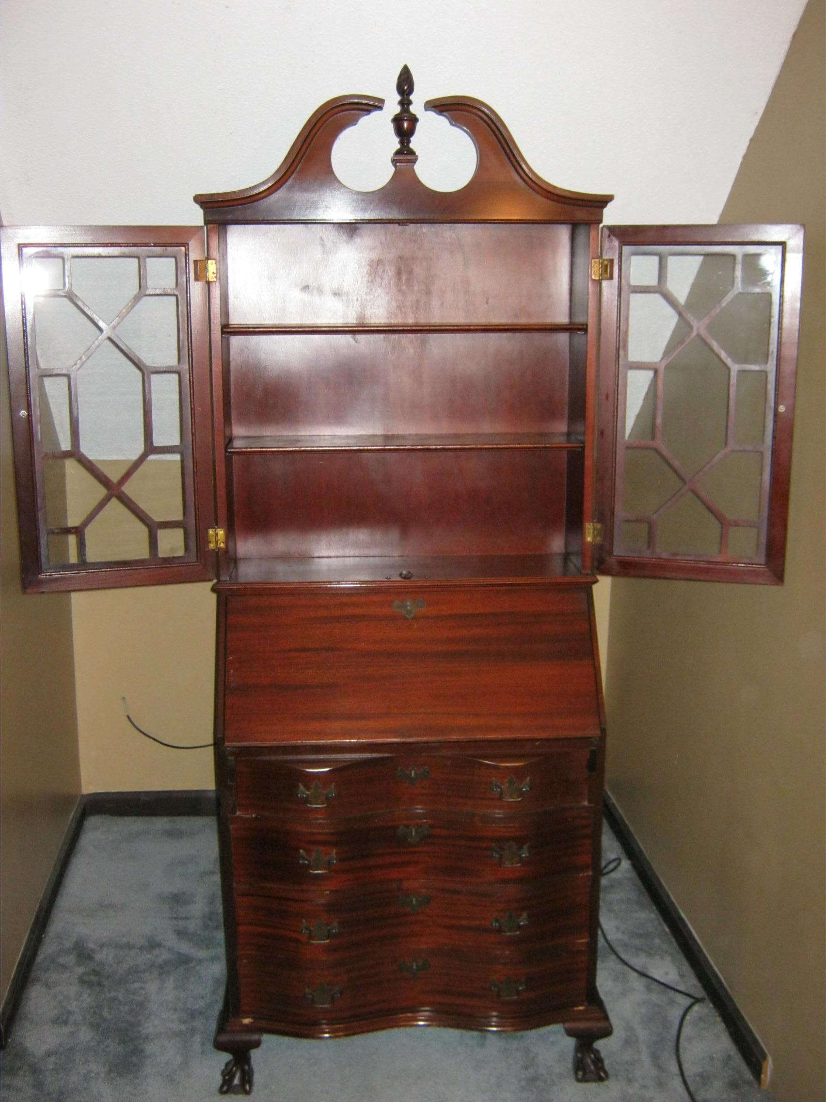 Awesome Antique Secretary Cabinet With Drop Down Desk   For Sale
