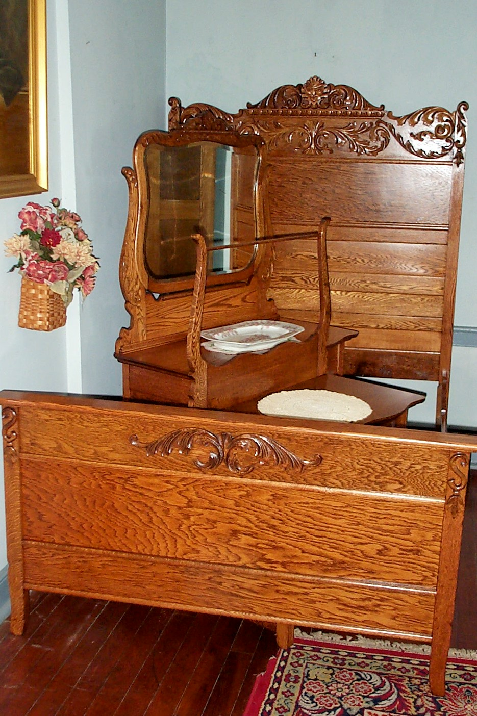 Three Piece Solid Oak Bedroom Set For Sale