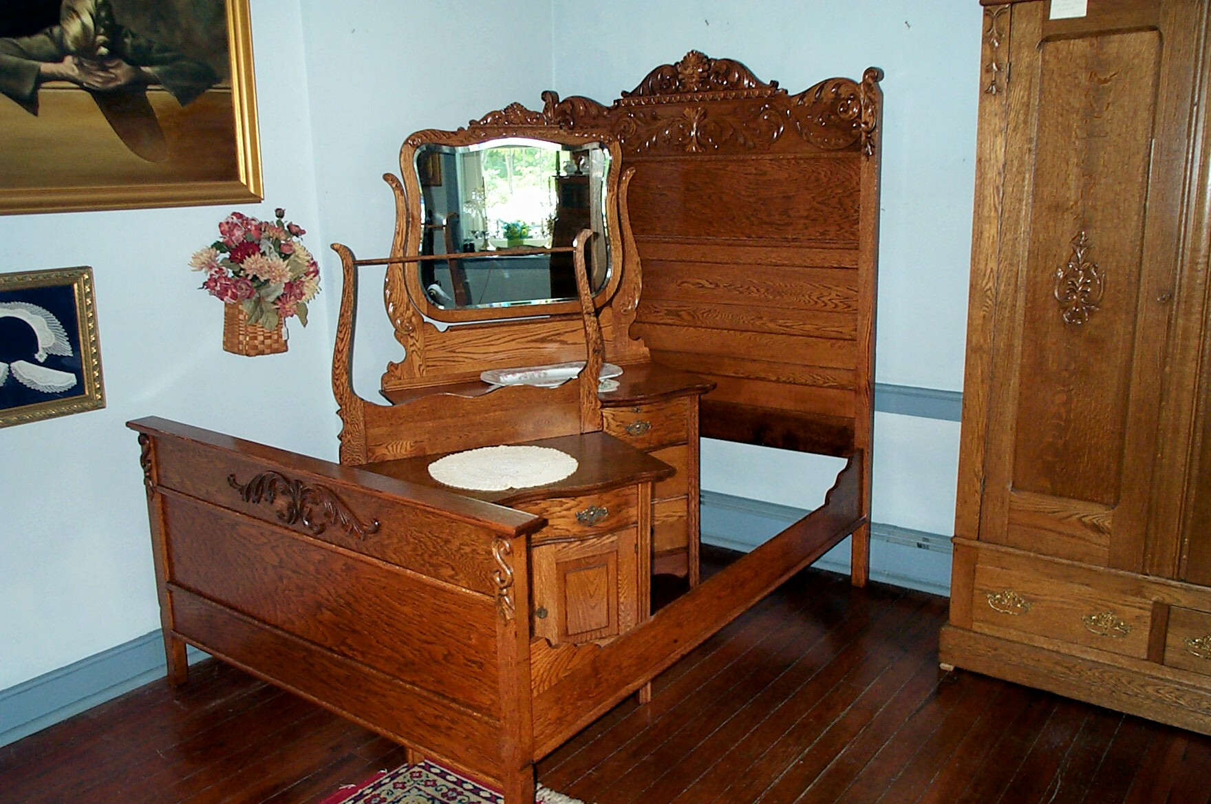 three piece solid oak bedroom set for sale - Antique Bedroom Sets