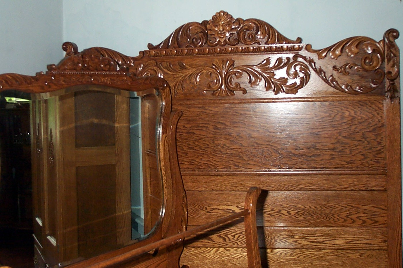 Three Piece Solid Oak Bedroom Set For Sale Antiques