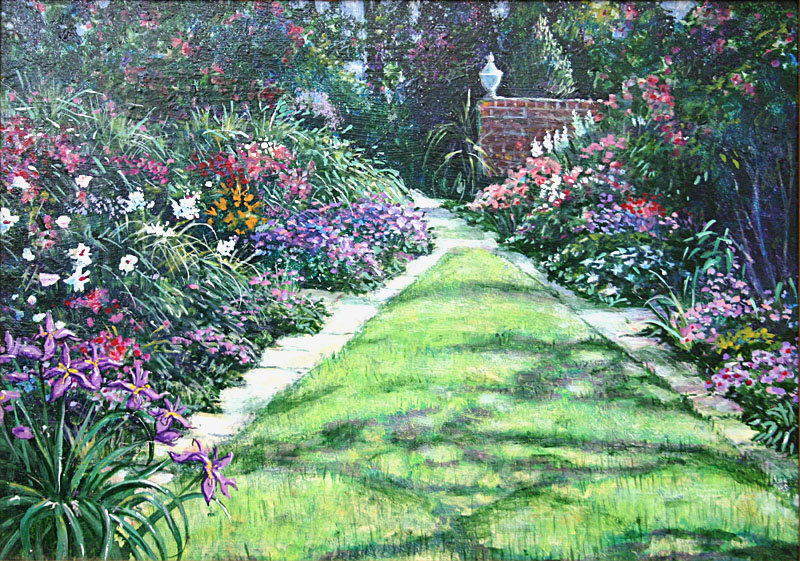 Albert sharp painting english garden landscape for sale antiques
