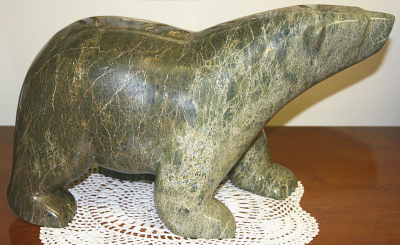 Inuit peter parr polar bear stone sculpture carving for