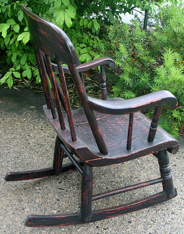 Adorable Antique Childrenu0027s Boston Rocker In Old Grain Painted Finish (red  Graining Over Black). Mid To Late 19th Century. Excellent Condition.