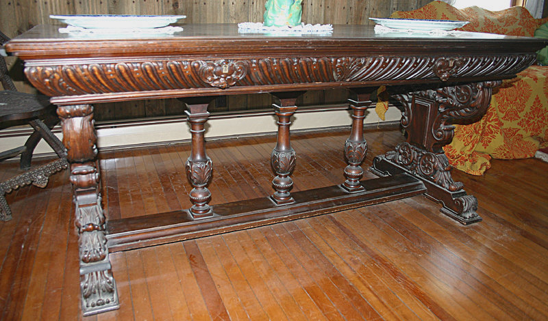 Renaissance Revival Walnut Library Table C 1875 1900 For Sale