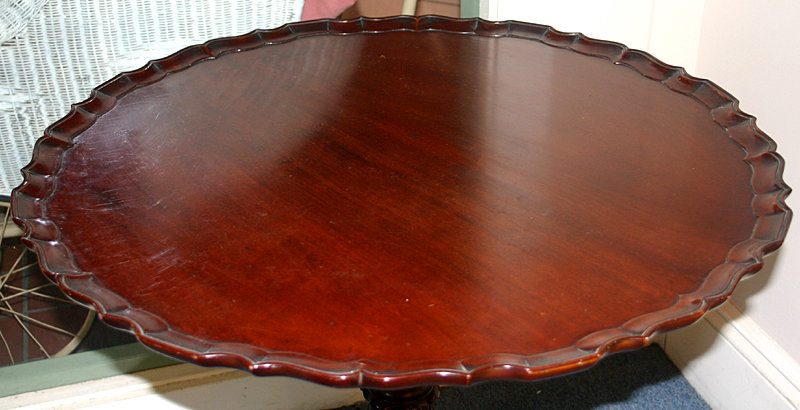 A Tilt Top Chippendale Style Tea Table In Mahogany, With Pie Crust, Dish  Top Supported On An Acanthus Decorated Turned Pedestal, With A Tripod Base  Ending ...