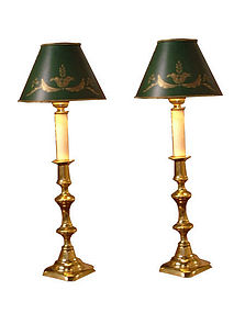 Antique English Br Candlestick Lamps