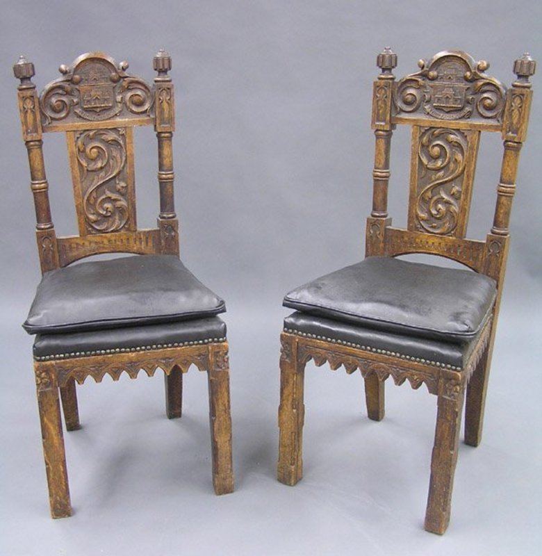 Circa 1880 Pair of Gothic Revival Oak Side Chairs, Crest Rail Carved with  Relief of a Castle and inscribed in Latin: