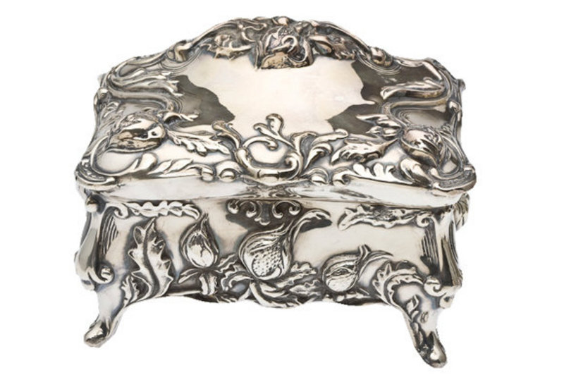 Art Nouveau Style Silver Plate Jewelry Box For Sale Antiquescom