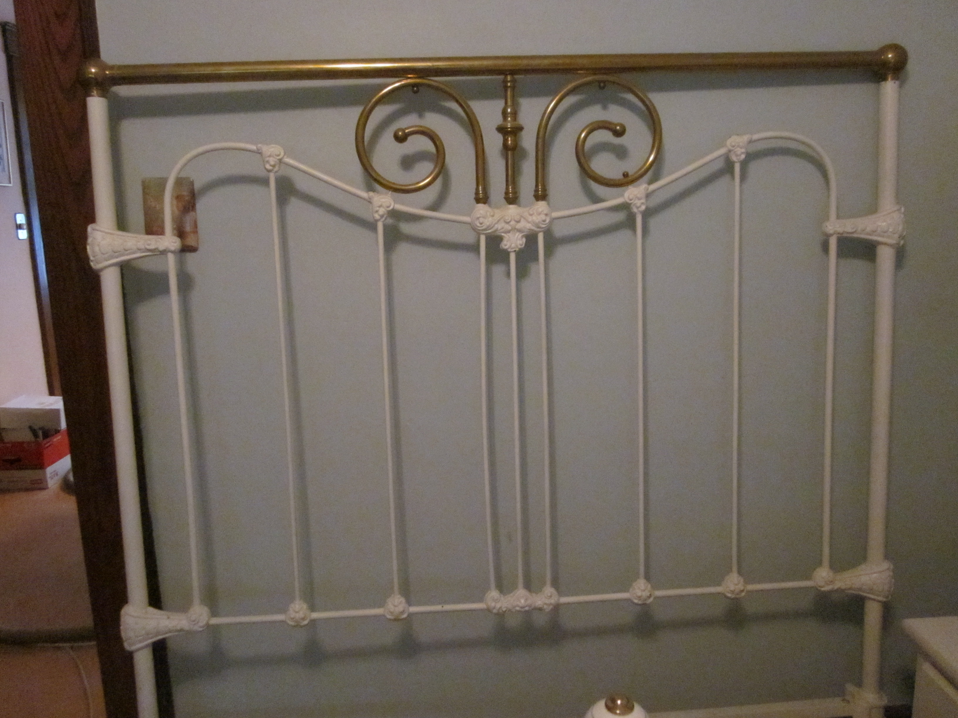 Brass and Iron Queen Size Bed Frame For Sale