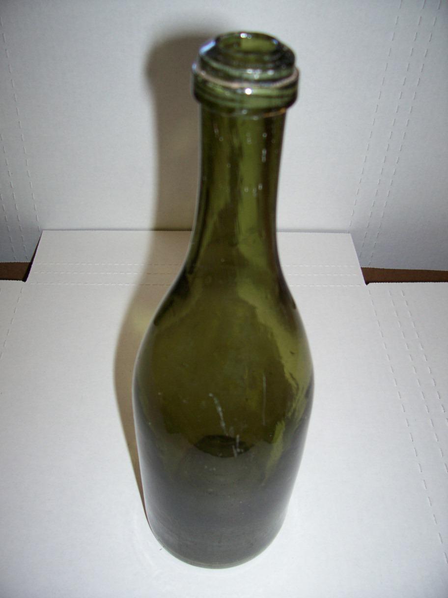 Green glass burgundy wine champagne bottle 1895 1910 for for Glass bottles for wine