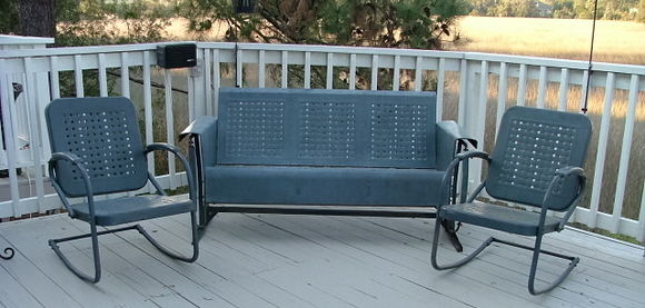 Awesome Vintage Three Seat Metal Porch Glider And Two Chairs   For Sale
