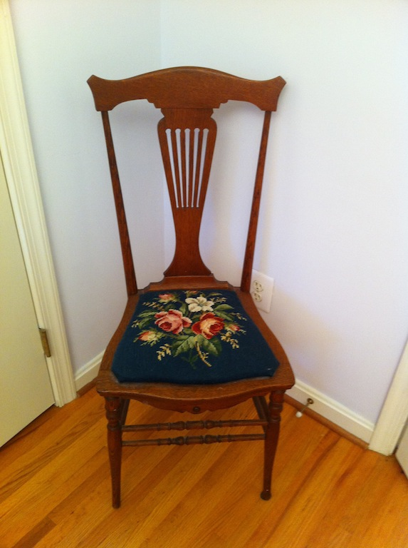 Vintage Lyre Back Chair With Needlepoint Cushion For Sale