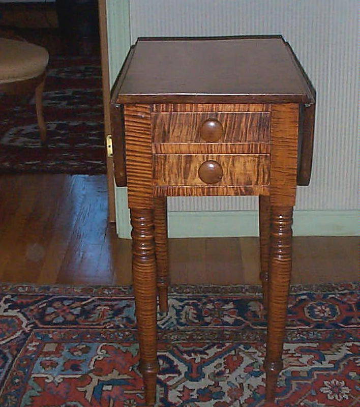 Vintage Maple Coffee Table: AMERICAN PEMBROKE TIGER MAPLE TABLE C. 1810 For Sale