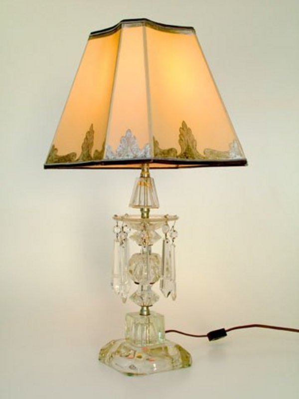 Cut Glass Lamp With Custom Parchment Shade For Sale
