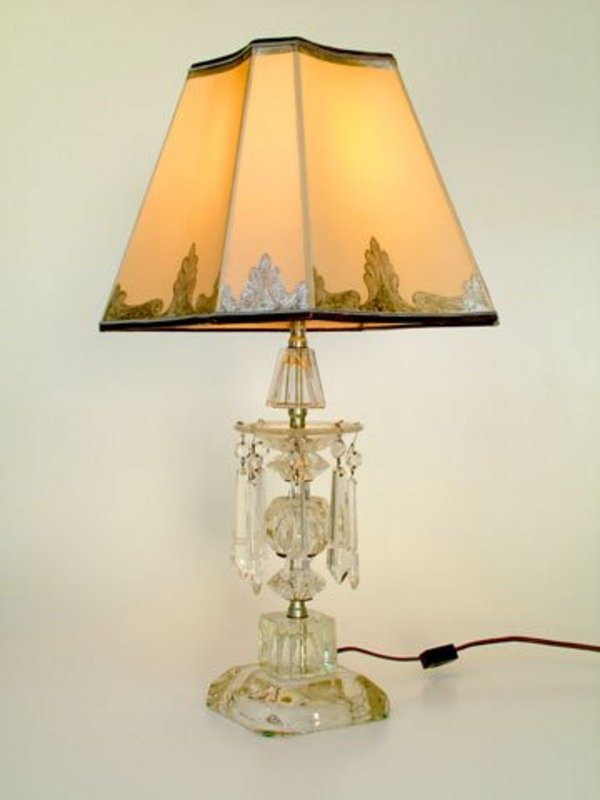 cut glass lamp with custom parchment shade for sale. Black Bedroom Furniture Sets. Home Design Ideas