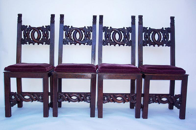 19th century spanish dining room chairs with cushions for sale