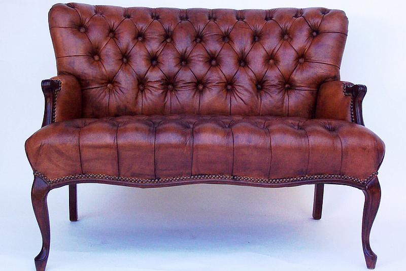 Pair of matching tufted leather loveseats for sale for Tufted couches for sale