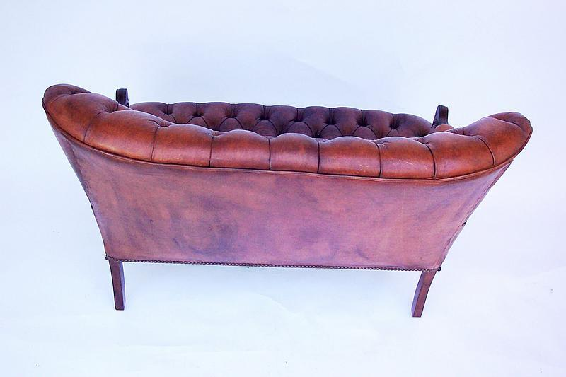 Pair Of Matching Tufted Leather Loveseats For Sale