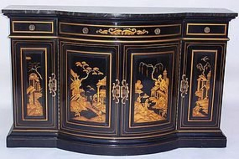 Oriental Black Lacquered Chinoiserie Sideboard For Sale