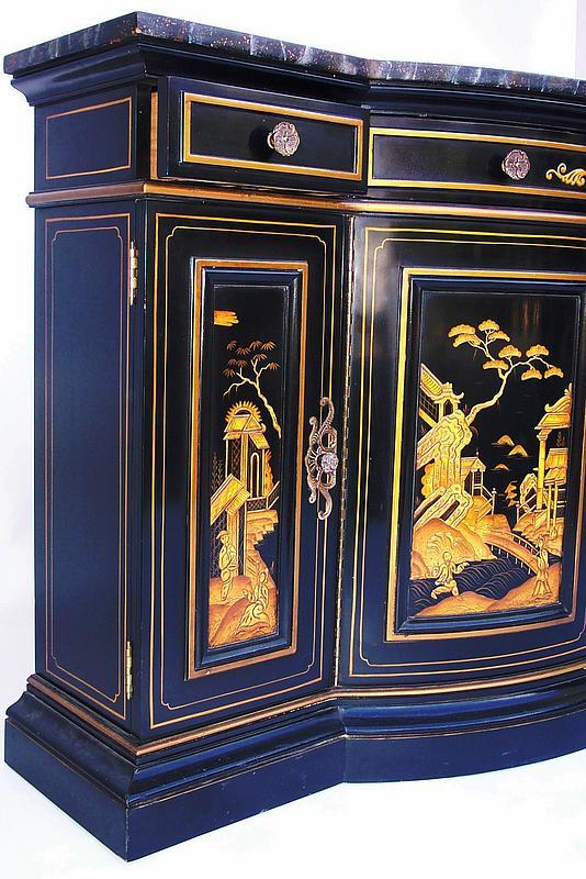 Oriental black lacquered chinoiserie sideboard for sale for Oriental furniture for sale