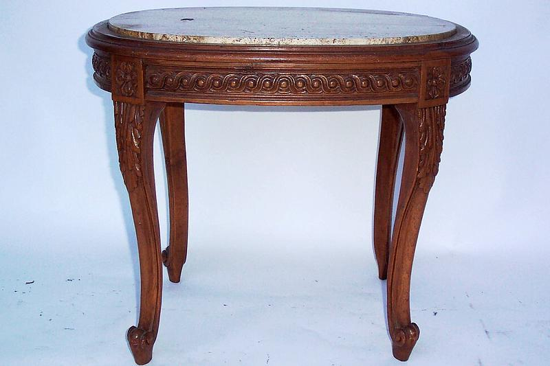 Oval Marble Top Table W/ Wood Base U0026 Cabriole Legs   For Sale