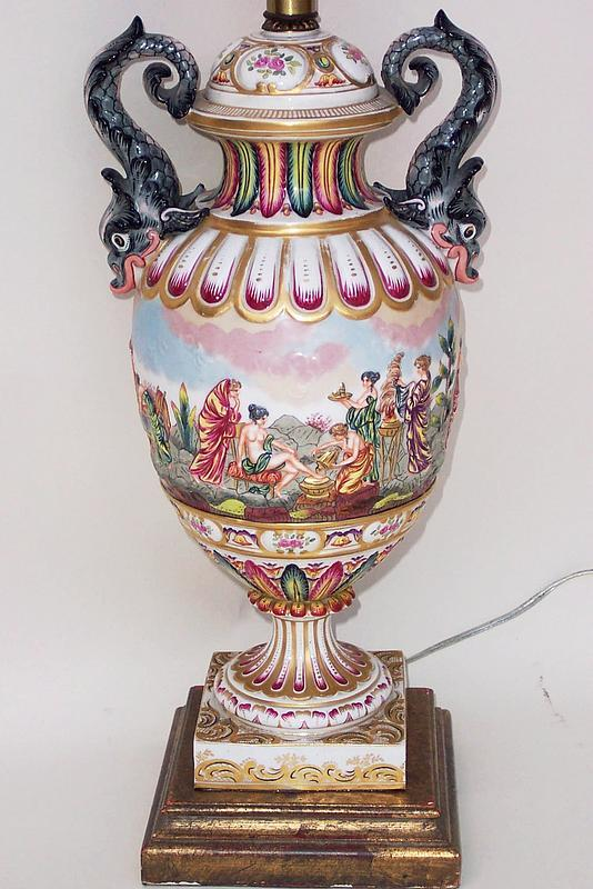 Capodimonte Porcelain Table Lamp : Italian capodimonte porcelain table lamp for sale