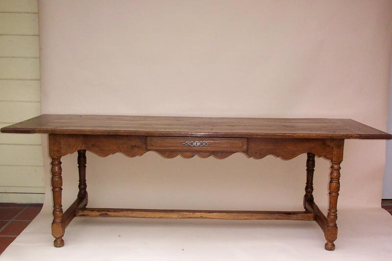 Antique Trestle Table Of Oak And A Scalloped Apron With One Drawer Is An  Exceptional French Table Useful For Dining For A Work Table In A Library.