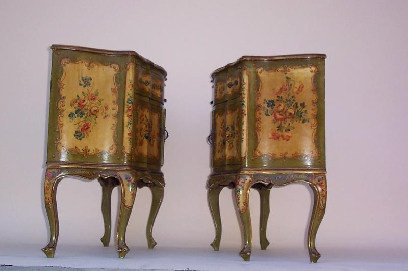 Pair Of Italian Painted Venetian Commodes, C. 1930u0027s. Antique Furniture