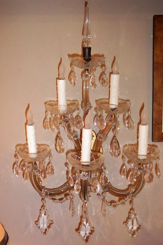Wall Sconces With Matching Chandelier : Matching Pair of Five Light Crystal Wall Sconces For Sale Antiques.com Classifieds