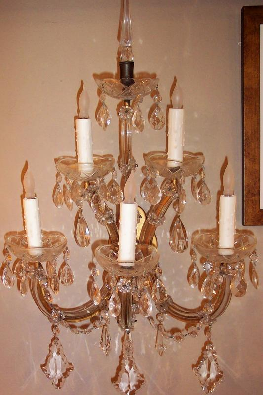 Matching Pair of Five Light Crystal Wall Sconces For Sale Antiques.com Classifieds